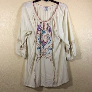 Krista Lee Top Blouse Pale Yellow Embellished XL